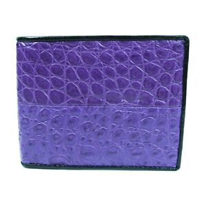New Real Purple Alligator Crocodile Leather skin Mens Bi-fold Crafted Wallet