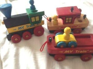 Vtg Montgomery Schoolhouse Wooden My Train Set Wood Trains Vermont