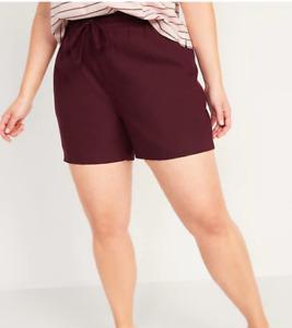 """Old Navy Women's High Waisted Linen Blend Shorts 4.5"""" Maroon Drawstring Waist XL"""