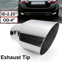 Stainless Steel Car Exhaust Tip Pipe Round Slant 2.25'' Inlet 4'' Outlet