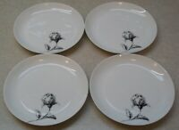 SET OF 4    BLOCK   ESPANA   ROSA   Bread & Butter Plates   Black  Rose Spain