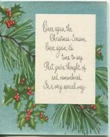 VINTAGE CHRISTMAS HOLLY LEAVES RED BERRIES PINE BLUE TREE GLITTER NORCROSS CARD