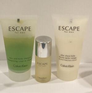 Escape For Men After Shave Balm 1.7 Oz for MEN & Shampoo & 15 Ml  Edt Splash