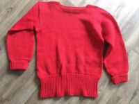 Plain Red Crew Neck Vintage 1930s 1940s Varsity Sweater By Princeton Mills