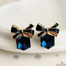 Women's Luxury 18K Gold Plated Blue CZ Cube Bow Party Earrings Stud Jewellery