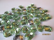 50 Acrylic Rhinestone Cabochons 8x10mm Faceted Rectangles - Rivoli Back ~ GREEN