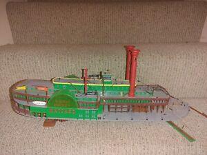 "Vintage Pyro Plastic Model Kit Natchez Paddle Wheel Riverboat Assembled 20"" Long"