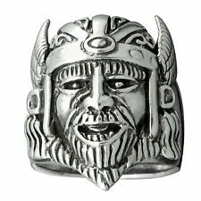 Viking Head with Helmet and Wings Ring 925 Solid Sterling Silver BELDIAMO