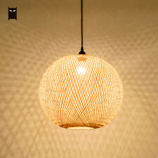 Bamboo Wicker Rattan Globe Pendant Light Fixture Rustic Country Hanging Lamp