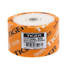 300 PCS Tiger CD-R 52X White Inkjet Hub Printable Blank CDR Disc Media 700MB