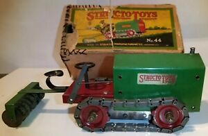 Early Structo Toys Wind-Up CATERPILLAR #44 (CLETRAC) TRACTOR 20's WORKS W/Box