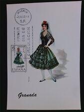 SPANIEN MK 1968 TRACHTEN GRANADA COSTUMES MAXIMUMKARTE MAXIMUM CARD MC CM c5549
