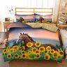 3D Horse Sun Flowers Doona Duvet Cover Bedding Set Quilt Cover Pillow Case