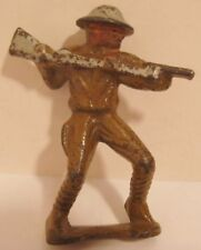 """Unusual Antique Cast Iron Toy Soldier Fighting w Rifle Bayonet 3"""" Grey Iron 1920"""