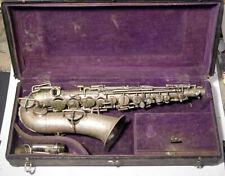 """1914 Buescher Saxaphone """"Low Pitch-True Tone"""" with Case, Restoration Challenge"""