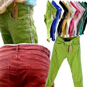 Melly Co Damen Jeans M-L-XL- lange Hose Italy Knopfleiste Seitenstreifen NEU