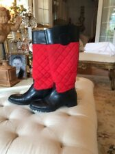 Tory Burch Red Quilted Black Leather Boots size 8