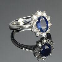 2.00 Carat Blue Sapphire Diamond Bridal Engagement Ring 950 Platinum Size L M N