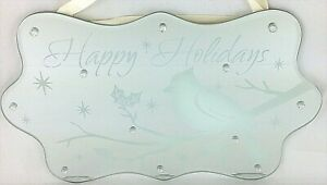Happy Holidays Glass Mirror Sign Hanging Decoration w/Cardinal on Branch
