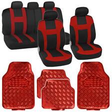 Red / Black Monaco Style Seat Cover + Diamond Plate Design Rubber Mats - 13 PC