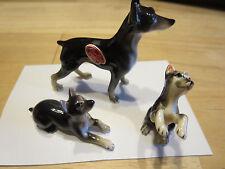 "3 Miniature Bone China Dog Doberman Pinscher Family Shiken Japan 2 1/4"" Tall"