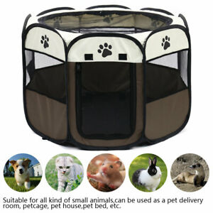 Portable Pet Dog Playpen Exercise Pen Tent Puppy Crate Cage Fence Kennel Cat Bed