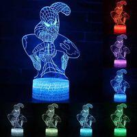 Superhero Spiderman 3D Illusion LED 7 Farben Veränderbar Nachtlicht Nachtlampe