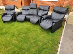 Himolla Comuly Curved Recliner 3 Piece Leather Suite Immaculate Condition !