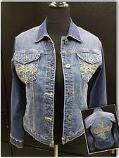 Ethyl Vintage Denim Button Up Jean Jacket with Bling & Cross Sz M Worn 1x
