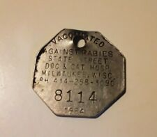 1985 Milwaukee Wisconsin Vaccinated Against Rabies Dog & Cat Tag #8114