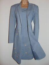 Laura Ashley Vintage Wool Blend Slate Blue Rose Buds Applied Shift Dress, UK 8