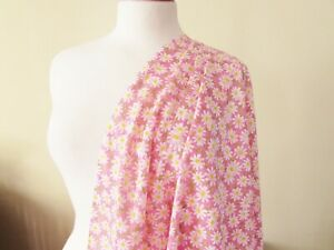 Pink Daisy Cotton Fabric - 2.96m x 1.48m (340)