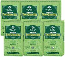 Organic India Tulsi Green Tea-Stress Relieving & Energizig 25 Tea Bags(Set of 6)