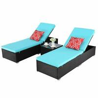 HTTH 3 PCS Outdoor Chaise Lounge Cushioned Chair Set Wicker Garden Patio Pool