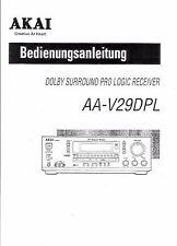 Akai  Bedienungsanleitung user manual owners manual  für AA- V 29 DPL