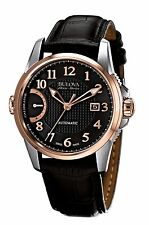 Bulova Accu Swiss Men's 65B154 Rose Gold Case Black Leather Strap 43mm Watch