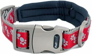 Petface Signature Padded Dog Collar, Small Medium Large, Red Black, Paws