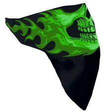 Motorrad Chopper Flammen Grün Skull Totenkopf Face Mask Gesichtsschutz Maske