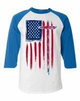 USA Flag with Cross Raglan Baseball American Christian Jesus Faith Shirts