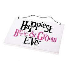 Bright side plus heureux Mariée et Marié SIGNE-plaque suspendu pour le jour de mariage