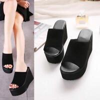 New Womens Lady Wedge Heel Slide Slippers Platform Flip Flops Sandals Shoes @