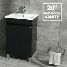 "20"" Bathroom Vanity Cabinet Wood Set W/ Undermount Resin Vessel Sink Combo Black"