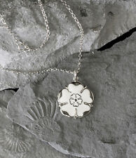 White Rose Jewellery, Sterling Silver Yorkshire Rose Necklace 23mm