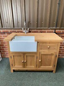 4ft Freestanding Solid Wood Kitchen Unit Belfast Sink Medium Oak Inc Taps