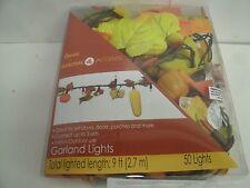 Lighted Fall Garland Leaf Decoration 50 orange lights, 9 ft. Indoor/Outdoor