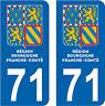 2 STICKERS STYLE PLAQUE IMMATRICULATION BLASON BOURGOGNE FRANCHE COMTÉ DEPT 71