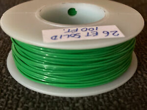 "26 GA. Solid Strand ""ET"" Teflon  M16878/6-26 200°C @ 250V Green 100 ft. spool"