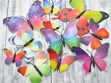 12pcs Rainbow 3D Magnet Butterflies Party Decoration Alice In Wonderland Theme