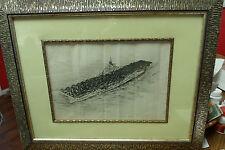 VINTAGE USS WASP BATTLE SHIP PRINT 1945 FRAMED