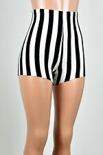 High Waisted Black White Striped Shorts XS S M L XL 2XL 3XL plus size gothic